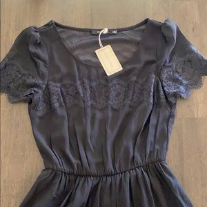 NWT Doe&Rae lace trim black dress